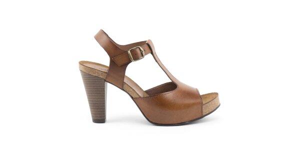 Dámske kožené svetlo hnedé sandálky na opätku Liberitae