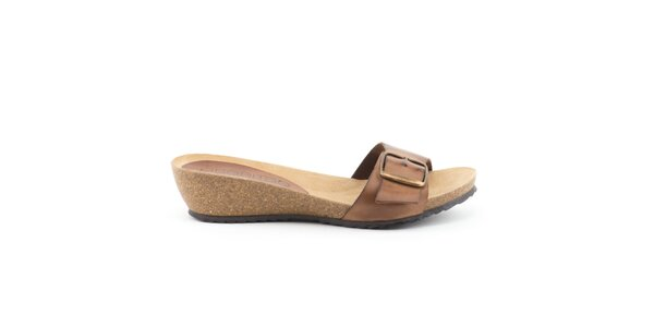 Dámske kožené hnedé nazúvacie sandálky Liberitae