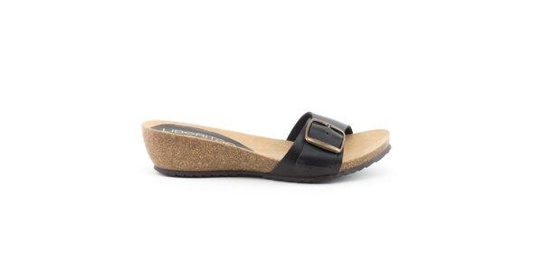 Dámske kožené čierne nazúvacie sandálky Liberitae