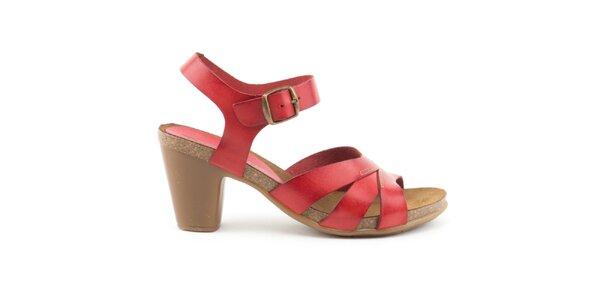 Dámske kožené červené sandálky Liberitae
