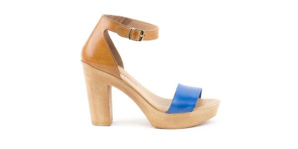 Dámske hnedo-strieborné kožené sandálky s plnou pätou Liberitae