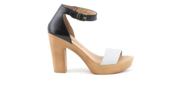 Dámske dvojfarebné kožené sandálky s plnou pätou Liberitae