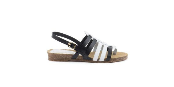 Dámske čiernobiele remienkové sandálky Liberitae