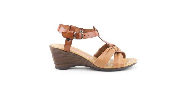 Dámske kožené dvojfarebné sandálky s uzlíkom Liberitae