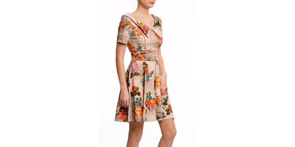 Dámske béžové šaty s kvetinovou potlačou Butik 7279