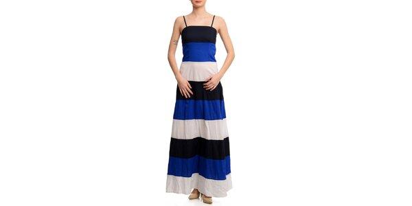 Dámske trojfarebné pruhované šaty Butik 7279