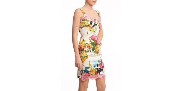 Dámske krátke púzdrové šaty s potlačou Butik 7279