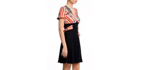 Dámske šaty s červeno prúžkovaným dielom Butik 7279
