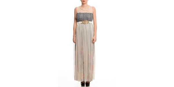 Dámske šaty s transparentnou vrstvou a čiernym prúžkom Butik 7279