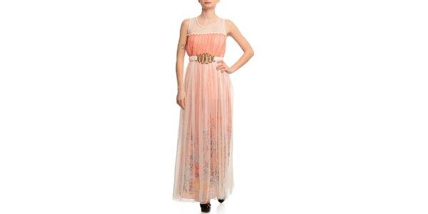 Dámske šaty s transparentnou vrstvou a korálovým prúžkom Butik 7279