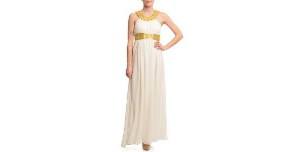 Dámske krémové šaty so zlatými lemami Butik 7279