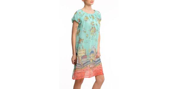 Dámske krátke šaty s farebnou potlačou Butik 7279