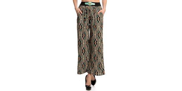 Dámske vzorované nohavice s ozdobným pásom Butik 7279