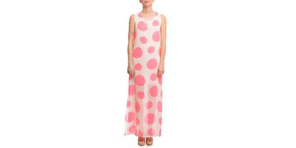 Dámske ružovo bodkované šaty Butik 7279