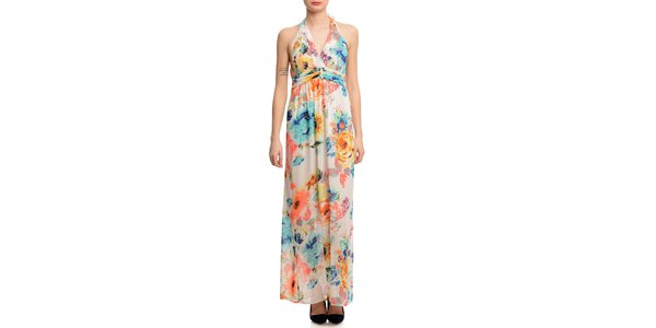 Dámske dlhé kvetované šaty Butik 7279