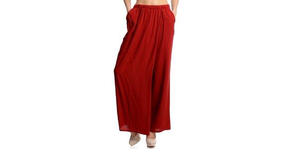 Dámske široké červené nohavice Butik 7279