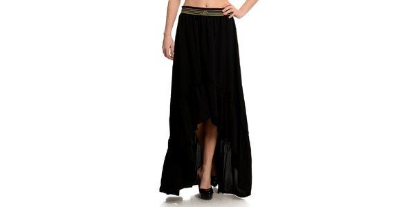Dámska čierna sukňa s pruhovaným pásom Butik 7279