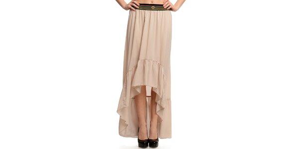 Dámska béžová sukňa s pruhovaným pásom Butik 7279