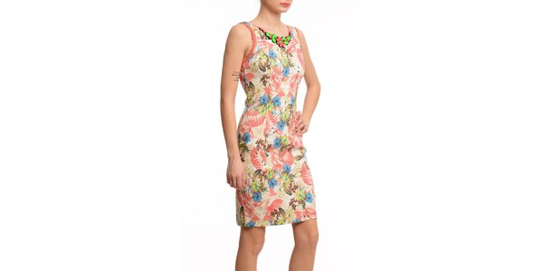 Dámske púzdrové šaty s ozdobným výstrihom Butik 7279