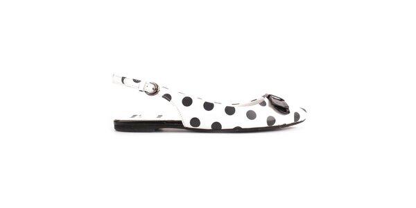 Dámske biele kožené topánky s čiernymi bodkami ELLE