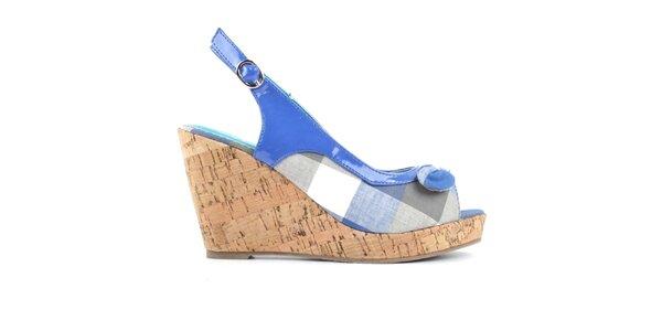 Dámske modré kockované sandálky na kline Evento