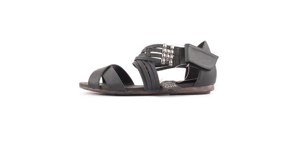 Dámske šedo-čierne kožené sandále Bel canto