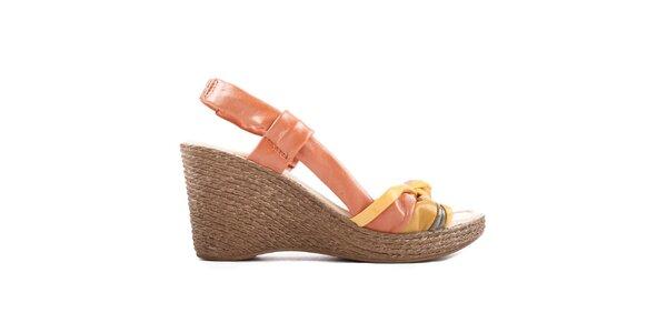 Dámske oranžovo-žlté sandálky na platforme Toscania