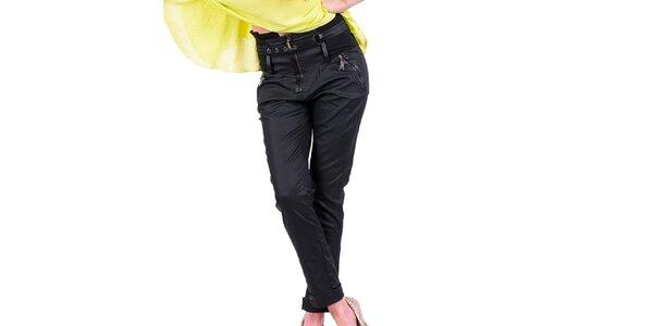 Dámske čierne nohavice s ozdobným pásom Nelita