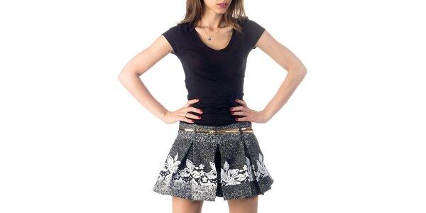 Dámske čierno-biele sukňové šortky Nelita
