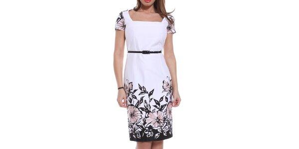 Dámske biele púzdrové šaty s ružovými kvetinami Melli London