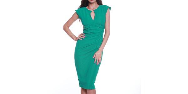 Dámske zelené púzdrové šaty s výstrihom Melli London