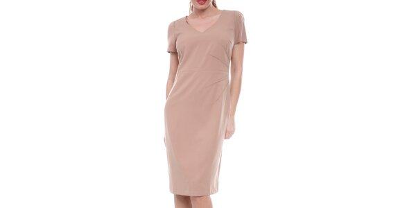 Dámske béžové púzdrové šaty Melli London