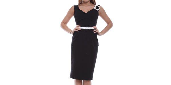 Dámske čierne šaty s bielou kvetinou Melli London