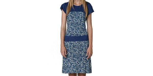Dámske modré šaty so vzorom Yhoss