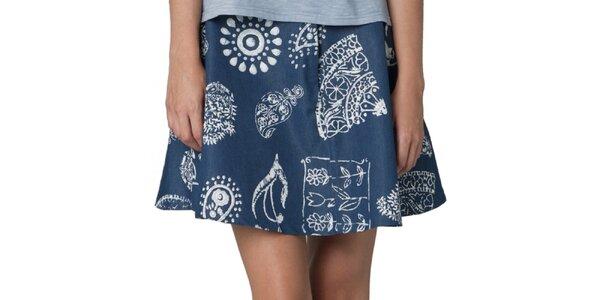 Dámska tmavo modrá sukňa s vintage vzorom Yhoss