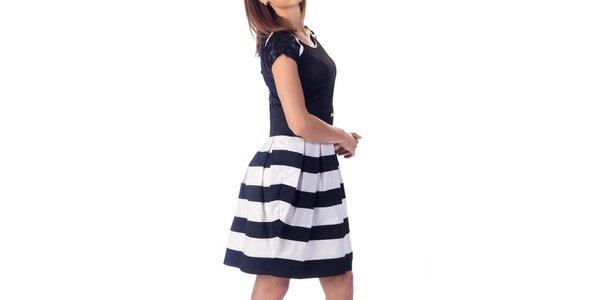 Dámske šaty s pruhovanou sukňou Nelita
