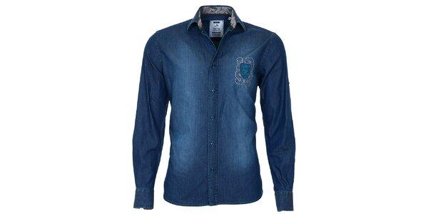 Pánska modrá džínsová košeľa so šisovaním Pontto
