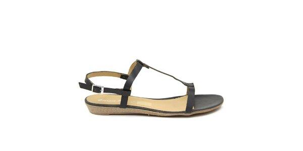 Dámske čierne kožené sandále Giorgio Picino