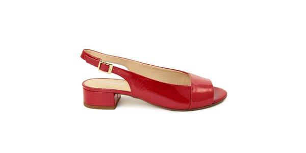 Dámske červené kožené sandále s opätkom Giorgio Picino