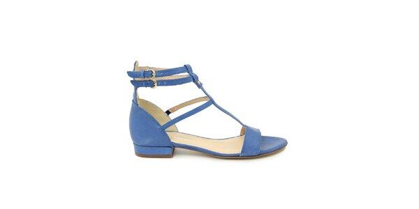 Dámske modré kožené gladiátorske sandálky Giorgio Picino