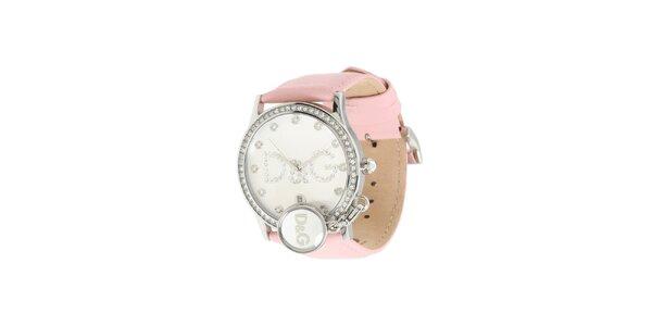 Dámske oceľové hodinky Dolce & Gabbana s kamienkami a ružovým remienkom