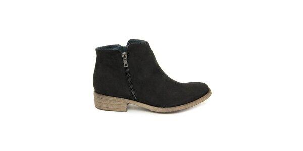 Dámske čierne členkové topánky so zipsom Giorgio Picino