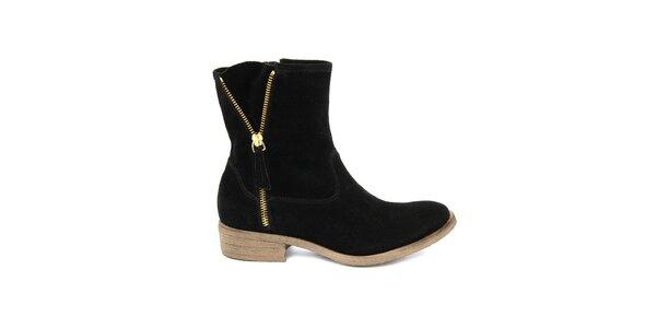 Dámske čierne semišové členkové topánky Giorgio Picino