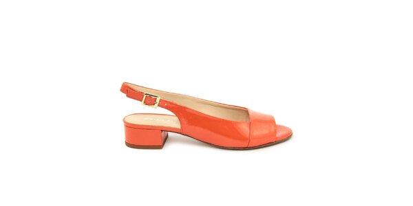 Dámske oranžové kožené sandálky s opätkom Giorgio Picino