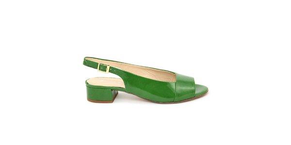 Dámske zelené kožené sandálky s opätkom Giorgio Picino