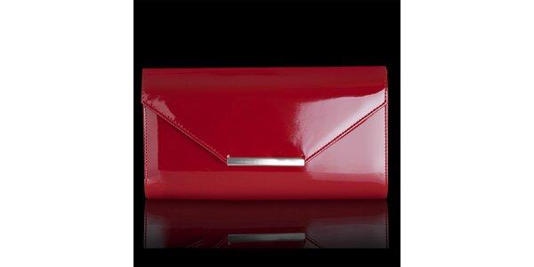 Dámska lesklá červená listová kabelka Felice