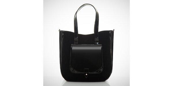 Dámska čierna kabelka so semišovou časťou Felice
