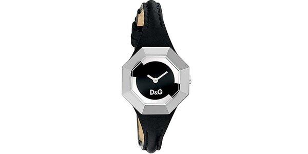 Dámske oceľové hodinky Dolce & Gabbana s čiernym koženým remienkom