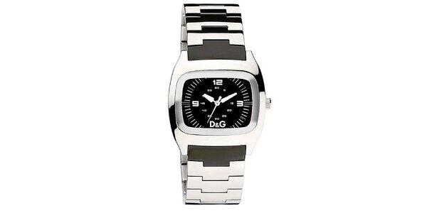 Pánske oceľové hodinky Dolce & Gabbana s čiernym ciferníkom
