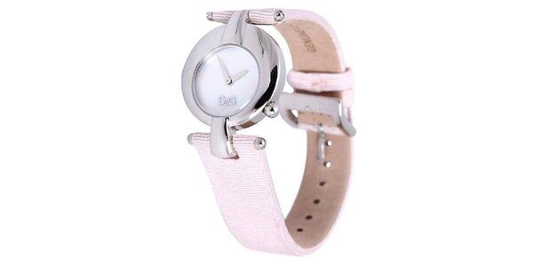 Dámske oceľové hodinky Dolce & Gabbana s ružovým remienkom